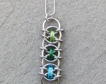 Chain Maille Pendant, Glass Pendant, Multicolor Jewelry, Green Blue Glass Jewelry