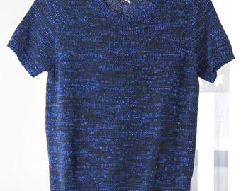 Blue and Black Short Sleeve Lightweight Sweater