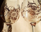 Mehndi Designs Glassware HUMMINGBIRD symbolizes love, joy, beauty. CUSTOM Hand Painted set of two. Option to PERSONALIZE