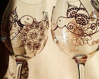 Mehndi Designs Glassware HUMMINGBIRD symbolizes love, joy, beauty. CUSTOM Hand Painted set of two. Option to PERSONALIZE