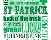 Printable St Patrick's Day White Digital Subway Art Typography Decoration 11x14 and 8x10