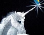 Unicorn with Rainbow on Velvet, Signed Original, How Retro is THIS
