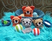 Basket of Kitties, Amigurumi Crochet Pattern, Cat and Kitten Dolls with Accessories.