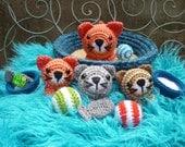 Basket of Kitties, Amigurumi Crochet Pattern, Cat and Kitten Dolls with Accessories.