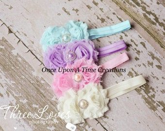 Pastel Pearl Baby Set of 4 Shabby Rose Headbands - Newborn Hairbow - Baby Girl Bow - Spring Collection