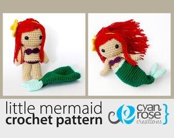 Little Mermaid Crochet Pattern - Instant Download - Little Mermaid with Removable Tail - CROCHET PATTERN ONLY