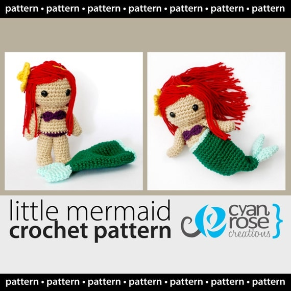 Instant Download - Little Mermaid with Removable Tail - CROCHET PATTERN