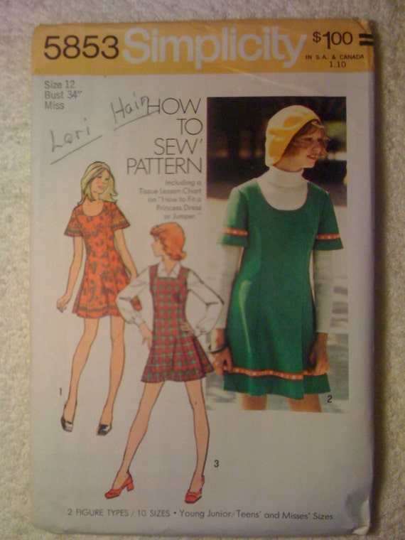 Simplicity 70s Sewing Pattern 5853 Young Juniors/Teens and Misses Short Dress or Jumper Size 12 Sale