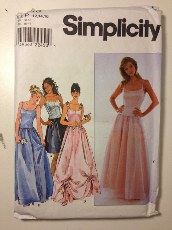 Simplicity 90s Sewing Pattern 8499 Uncut Misses and Miss Petite Top and Skirt Size 12-16