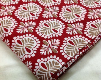 Quilting Fabric Remnant - Red Beige Floral Print Fabric -  Indian Cotton Fabric - Pure Cotton Vegetable Dyed Fabric
