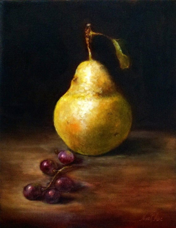 Original Oil Painting by Nina R.Aide - Pear and Grapes - Oil on Stretched canvas 14x11x1 inches