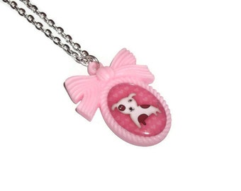Dog Necklace, Cute Pink Cameo, Staffordshire Bull Terrier