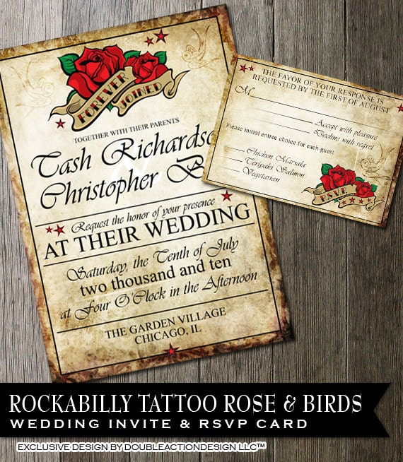 tattoo wedding invitations. tattoo style sugar skull wedding,