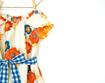 Girls Petal Sleeve Peasant Dress with Sash / Cream, Orange, and Blue / 6m - 6T