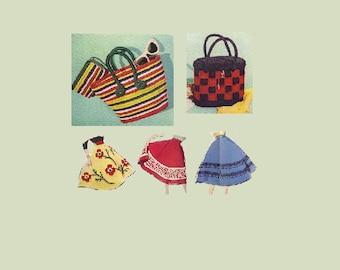 Fashions Crochet Pattern 1950s Handbag Hat Shawl Crocheting Flowers Trim Blouse Retro Fashion Knit Purses