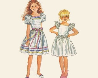 Girls Boho Hippie Style Peasant Dress Simplicity 80s Sewing Pattern 6041 Full Skirt Puff Sleeves Flower Girl Easter Holiday Uncut Size 7