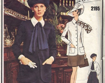 60s Sewing Pattern Designer Yves Saint Laurent Vogue Paris Original 2195 Suit Slim Skirt Semi Fitted Jacket Blouse Bust 32