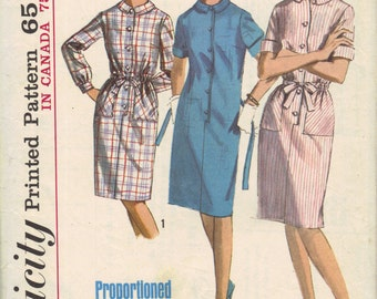 60s Simplicity Sewing Pattern Casual Day Dress Loose Fit Long or Short Sleeves Shirt Dress Button Front Bust 32