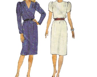 Butterick 80s Sewing Pattern Pullover Dress Long Short Tulip Sleeves Puff Shoulders Pleated Yoke Loose Fit Bust 32