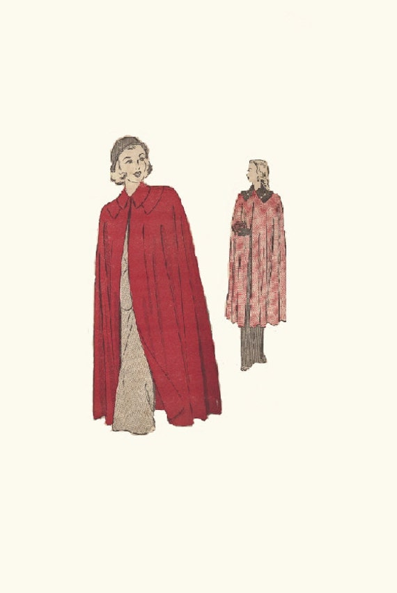 Ladies Evening Cape Formal Wrap Long Sleeveless Coat Advance 4778 Sewing Pattern 1940s Size Large
