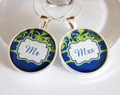 Mr Mrs Wine Charms, Wine Charms, Wedding Wine Charms, blue, green, Wedding Shower, Bridal Shower, table setting, silver plate