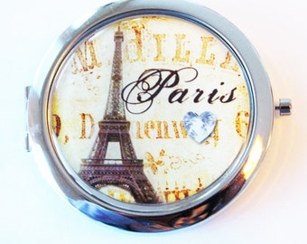 Paris compact mirror, purse mirror, Paris, eiffel tower, compact mirror, Paris mirror (2081)