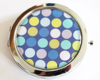 Polka Dot compact mirror, Polka Dots, mirror, purse mirror, compact mirror, double sided mirror, gift for her, blue (2149)