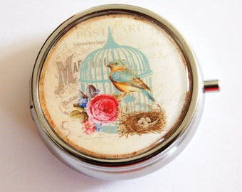 Bird pill case, Pill Box, Pill Case, Pill Container, case, Gift for her, Mothers Day (2358)