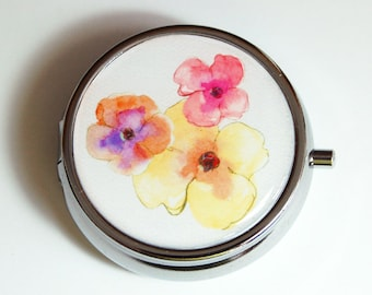 Flower Pill Case, Pansy, Pill Case, Pill Container, Floral, Gift for her, pink, yellow, orange, pill case (2251)
