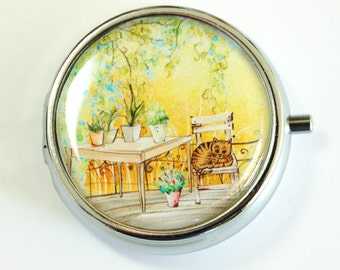 Pill Case, Pill Box, pill case for purse, Pill Container, Provence, Landscape, Europe, Gift for her  (2502)