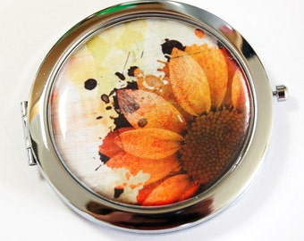 Floral compact mirror, Flower, mirror, pocket mirror, compact mirror, gift for her, orange, mirror for purse (2524)