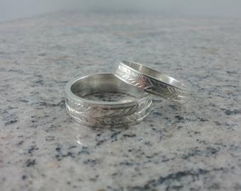 Sterling Silver Double Leaf Hand Engraved Wedding Band Set