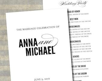 Classic Script Printable Wedding Program - DIY Ceremony Program - Elegant, Modern, Black, White