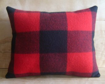 Wool Pillow - Buffalo Plaid - Camp Blanket Lumberjack Rustic Cabin Buffalo Plaid