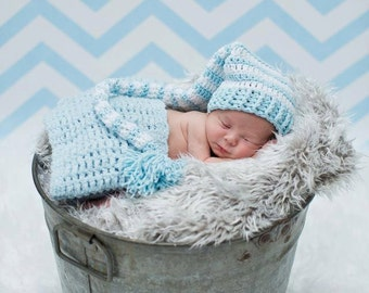 Crochet Baby Boys Elf Tail Hat Baby Blue White Striped READY TO SHIP