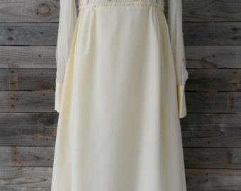 Vintage 70's Boho Empire Waist Wedding Dress with Pleating and Flower Detail