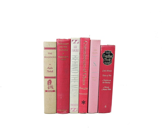 PRETTY PINK VIntage Decorative Books,Wedding Table Settings,Home Decor, Book Collection,Valentine, Interior Design,rose red pink white