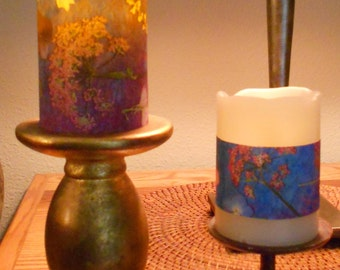 """Decal or Wrap for 6"""" Flameless Candle Pillars Pressed Flower Art"""
