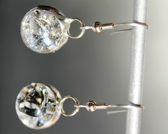 Clear Fried Glass Marble Dangle Earrings with FREE SHIPPING