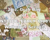 2 oz (30-35 pieces) Grab Bag of ANTIQUE, Early 1900s to 1920s, Turn of the Century, Wallpaper Scraps for Collage, Scrapbooking, and Crafts