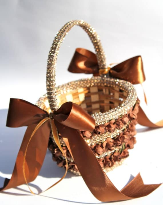 Flower Girl Basket Golden Brown  With Sparkle Rhinestone Mesh and  Bi Color Satin Ribbon Bows, Couture Flower Girl, Autumn wedding