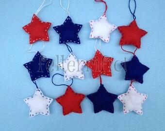 1 Dozen Handmade Felt Mini Red White & Blue Star Ornaments