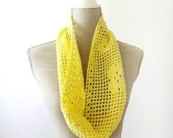 Yellow Circle Scarf, Crochet Scarf, Infinity Scarf