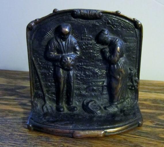 Vintage cast iron door stop bookend bronze color by vistachick