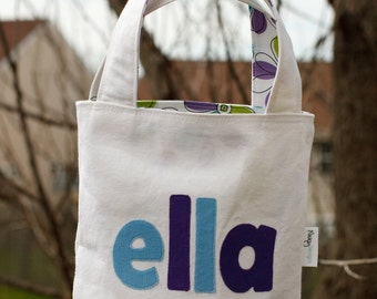 "Personalized Children's Tote Bag - ""Ella"", Large reversible kid's tote bag, Library tote, Book bag"