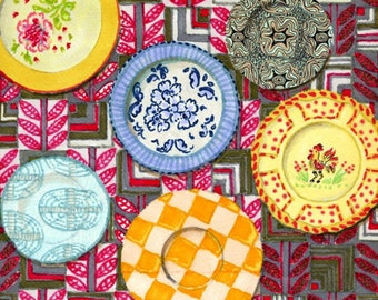 Decorative Wall Plates - Print of Original Pen and Marker Art