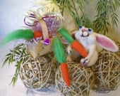 Bunny, Easter Bunny with Carrots and a Basket, Miniatures, handmade bunny