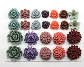 24 pcs Resin Flower Cabochons Assorted Sizes Sampler Pack - Fall Memories (updated version)