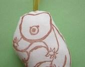 WATER BEAR sitting & waving - ornament - studio or study buddy - nursery decoration - gift tag - loot bag goodie