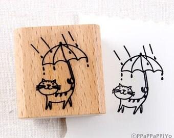 50% OFF SALE Umbrella cat Rubber Stamp